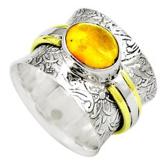925 sterling silver victorian yellow amber two tone ring jewelry size 8.5 m77118