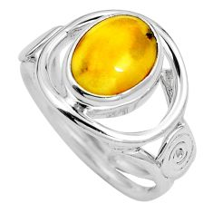 Natural amber bone 925 sterling silver ring jewelry size 7 m77121