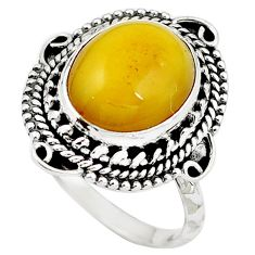 Natural yellow amber bone 925 sterling silver ring jewelry size 8 m77404