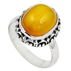 Natural yellow amber bone 925 sterling silver ring size 6.5 m77406