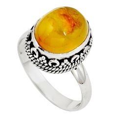 Natural yellow amber bone 925 sterling silver ring jewelry size 8 m77409