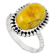 925 sterling silver natural yellow amber bone ring jewelry size 6.5 m77411