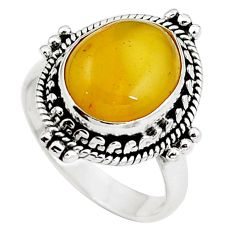 Natural yellow amber bone 925 sterling silver ring size 6.5 m77413