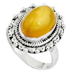 925 sterling silver natural yellow amber bone ring jewelry size 6.5 m77419