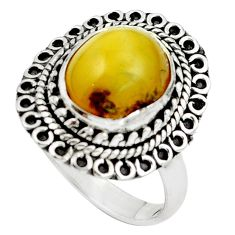 Natural yellow amber bone 925 sterling silver ring jewelry size 8 m77420