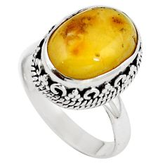 Natural yellow amber bone 925 sterling silver ring jewelry size 7 m77422