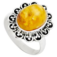 Natural yellow amber bone 925 sterling silver ring jewelry size 7 m77423