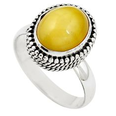 Natural yellow amber bone 925 sterling silver ring jewelry size 8 m77427