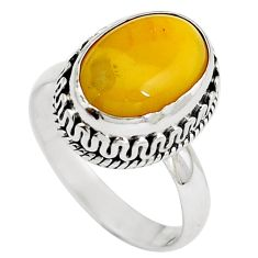 Natural yellow amber bone 925 sterling silver ring jewelry size 7 m77428