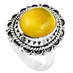Natural yellow amber bone 925 sterling silver ring jewelry size 6 m77432