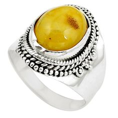 Natural yellow amber bone 925 sterling silver ring jewelry size 8 m77434