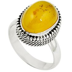Natural yellow amber bone 925 sterling silver ring jewelry size 8 m77437