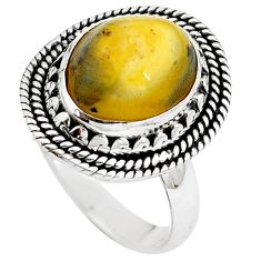 Natural yellow amber bone 925 sterling silver ring size 6.5 m77440