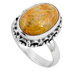 925 silver natural fossil coral (agatized) petoskey stone ring size 6.5 m77549