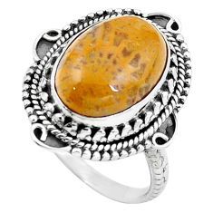 Natural fossil coral (agatized) petoskey stone 925 silver ring size 7 m77552