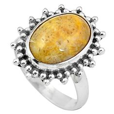 Natural fossil coral (agatized) petoskey stone 925 silver ring size 7 m77554