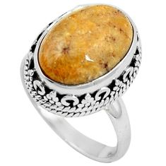 925 silver natural fossil coral (agatized) petoskey stone ring size 6.5 m77555