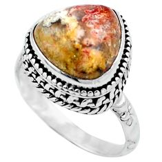 Natural multi color mexican laguna lace agate 925 silver ring size 8 m77775