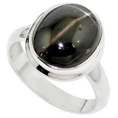 Natural black star oval 925 sterling silver ring jewelry size 8 m77800