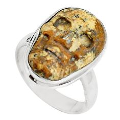 Natural brown picture jasper 925 silver skull ring size 6.5 m78311