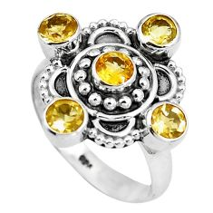Natural yellow citrine 925 sterling silver ring jewelry size 7 m79130