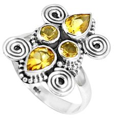 Natural yellow citrine 925 sterling silver ring jewelry size 7.5 m79179