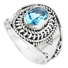 Natural blue topaz 925 sterling silver ring jewelry size 8 m79188