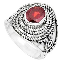 925 sterling silver natural red garnet oval ring jewelry size 6 m79200