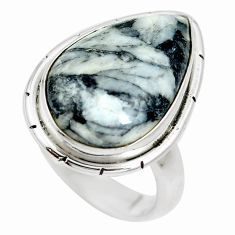 Natural white pinolith 925 sterling silver ring jewelry size 7 m79897