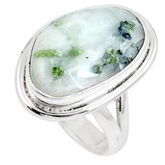 Natural green tourmaline in quartz 925 silver ring size 9.5 m80561