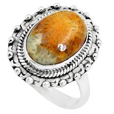 925 silver natural fossil coral (agatized) petoskey stone ring size 7 m81044