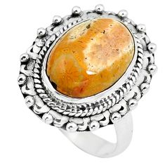 Natural fossil coral (agatized) petoskey stone 925 silver ring size 6 m81046