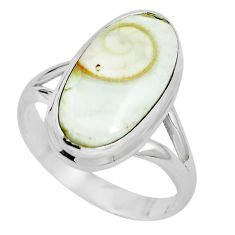 Natural white shiva eye 925 sterling silver ring jewelry size 8 m82647
