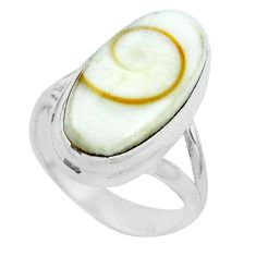 Natural white shiva eye 925 sterling silver ring jewelry size 5 m82649