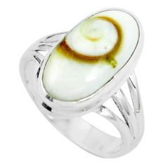 Natural white shiva eye 925 sterling silver ring jewelry size 8.5 m82651