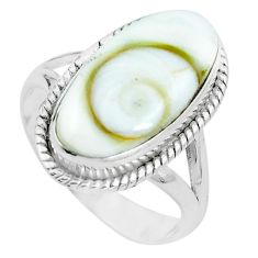 Natural white shiva eye 925 sterling silver ring jewelry size 8.5 m82654