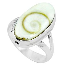 Natural white shiva eye 925 sterling silver ring jewelry size 6 m82657