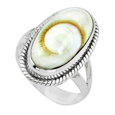Natural white shiva eye 925 sterling silver ring jewelry size 5.5 m82659