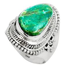 Natural green opaline 925 sterling silver ring jewelry size 6.5 m82662