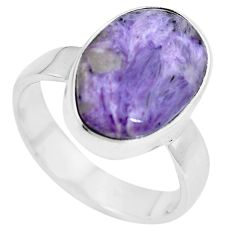 7.54cts natural purple charoite (siberian) 925 silver ring size 7.5 m83011