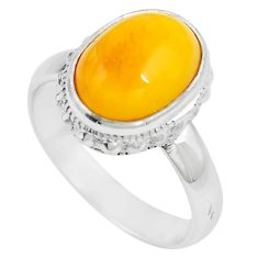 Natural yellow amber bone 925 sterling silver solitaire ring size 6.5 m83021