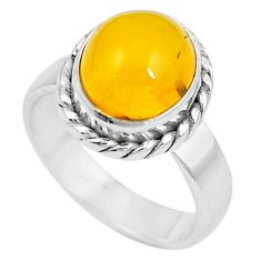 Natural yellow amber bone 925 sterling silver solitaire ring size 6.5 m83025