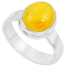 Natural yellow amber bone 925 sterling silver solitaire ring size 7 m83030