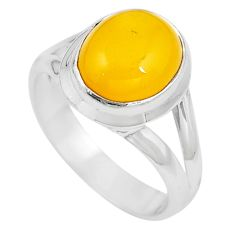 Natural yellow amber bone 925 sterling silver solitaire ring size 6.5 m83031