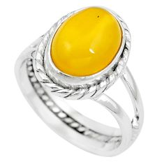 Natural yellow amber bone 925 sterling silver solitaire ring size 7 m83033