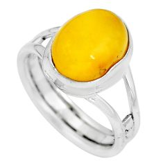 Natural yellow amber bone 925 sterling silver solitaire ring size 6.5 m83036