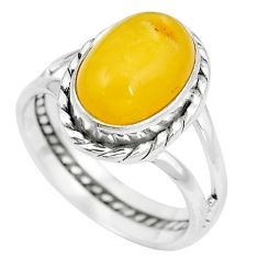 Natural yellow amber bone 925 sterling silver solitaire ring size 7 m83037