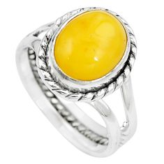 Natural yellow amber bone 925 sterling silver solitaire ring size 6.5 m83038