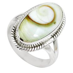Natural white shiva eye 925 sterling silver ring jewelry size 6 m83198