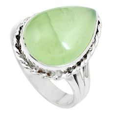 Natural green prehnite 925 sterling silver ring jewelry size 9.5 m84646